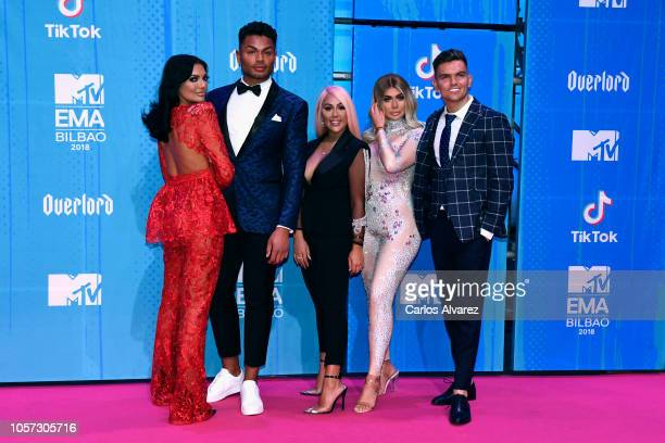 Abbie Holborn Nathan Henry Chloe Ferry Sophie Kasaei and Sam Gowland attend the MTV EMAs 2018 at Bilbao Exhibition Centre on November 4 2018 in...