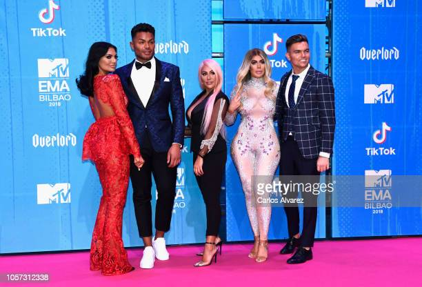 Abbie Holborn Nathan Henry Sophie Kasaei Chloe Ferry and Sam Gowland attend the MTV EMAs 2018 at Bilbao Exhibition Centre on November 4 2018 in...