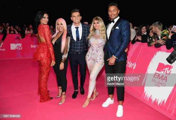 Abbie Holborn Sophie Kasaei Sam Gowland Chloe Ferry and Nathan Henry attend the MTV EMAs 2018 at Bilbao Exhibition Centre on November 4 2018 in...