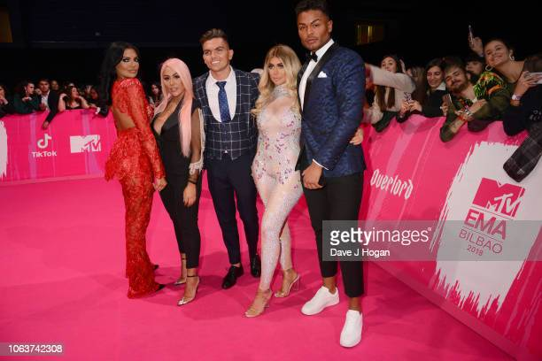 Abbie Holborn Sophie Kasaei Sam Gowland Chloe Ferry and Nathan Henry attend the MTV EMAs 2018 at the Bilbao Exhibition Centre on November 04 2018 in...