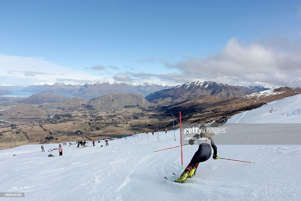 Abbie Macey of Great Britain competes in the Alpine Slalom - FIS Australia New Zealand Cup during the Winter Games NZ at Coronet Peak on August 29, 2015 in Queenstown, New Zealand.