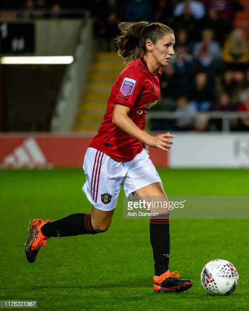 Abbie McManus of Manchester United Women in action during the Barclays FA Women's Super League match between Manchester United and Arsenal at Leigh...