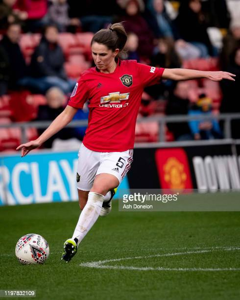 Abbie McManus of Manchester United Women in action during the WSL match between Manchester United Women and Bristol City Women at Leigh Sports...