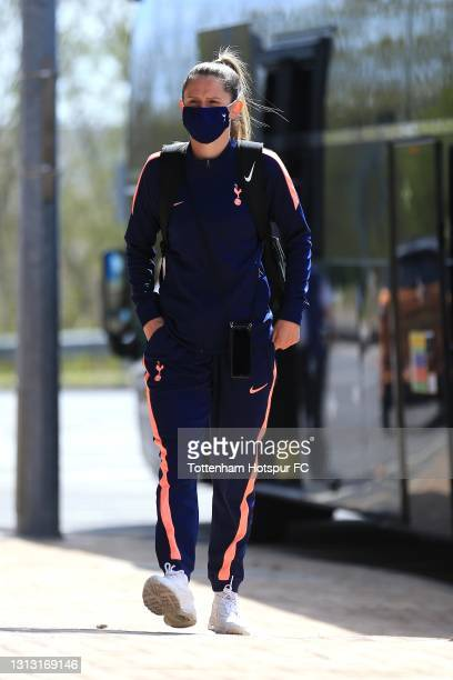 Abbie McManus of Tottenham Hotspur arrives during the Vitality Women's FA Cup Fourth Round match between Reading Women and Tottenham Hotspur Women at...