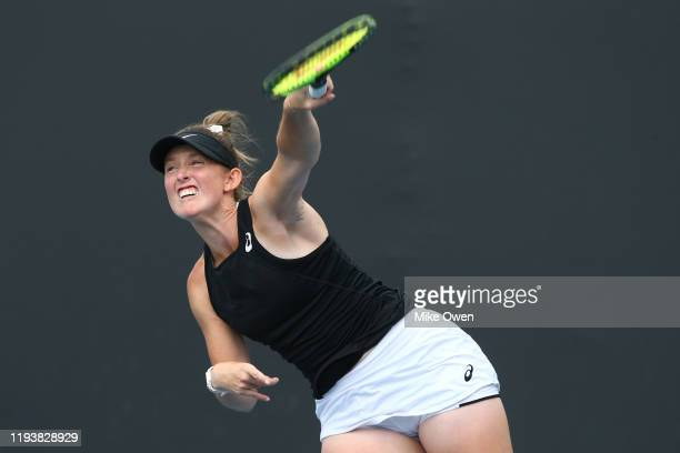 Abbie Myers of New South Wales serves in her Woman's Singles 2019 Australian Open Wildcard Play-Off Semi-Final match against Storm Sanders of Western...