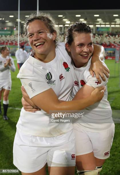 Abbie Scott and Justine Lucas of England celebrate following their team's 203 victory during the Women's Rugby World Cup 2017 Semi Final match...