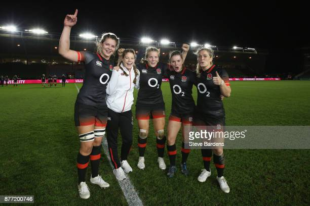 Abbie Scott Jess Breach Vickii Cornborough Leanne Riley and Rachael Burford of England Women celebrate after the victory over Canada women after the...