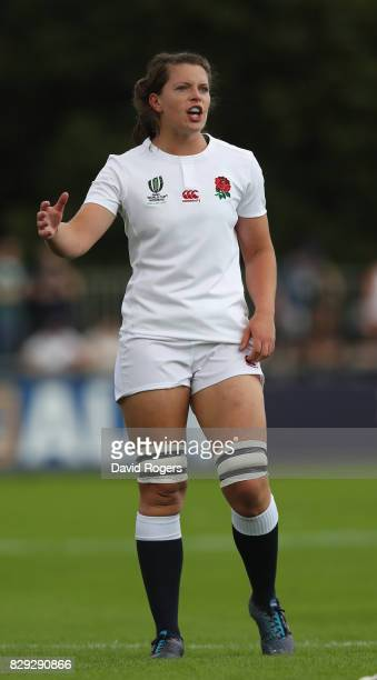 Abbie Scott of England looks on during the Women's Rugby World Cup 2017 Group B match between England and Spain at the UCD Bowl on August 9 2017 in...