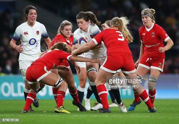 Abbie Scott of England on the charge during the Old Mutual Wealth Series match between England and Canada at Twickenham Stadium on November 25 2017...