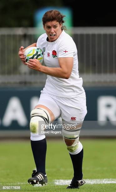 Abbie Scott of England runs with the ball during the Women's Rugby World Cup 2017 Group B match between England and Spain at the UCD Bowl on August 9...