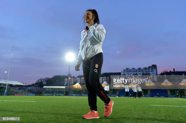 Abbie Scott of England walks from the pitch ahead of kick off during the Natwest Women's Six Nations match between Scotland Women and England Women...