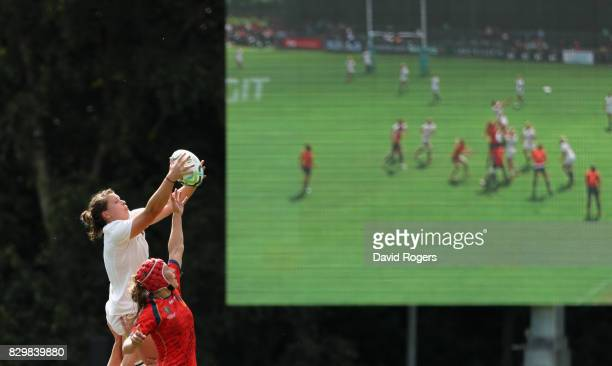 Abbie Scott of England wins the lineout during the Women's Rugby World Cup 2017 Group B match between England and Spain at the UCD Bowl on August 9...