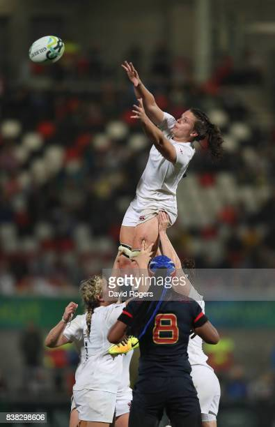 Abbie Scott of England wins the lineout during the Women's Rugby World Cup 2017 semi final match between England and France at the Kingspan Stadium...