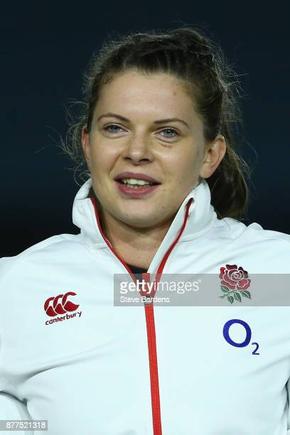 Abbie Scott of England Women sings the national anthem prior to the Old Mutual Wealth Series match between England Women and Canada Women at...