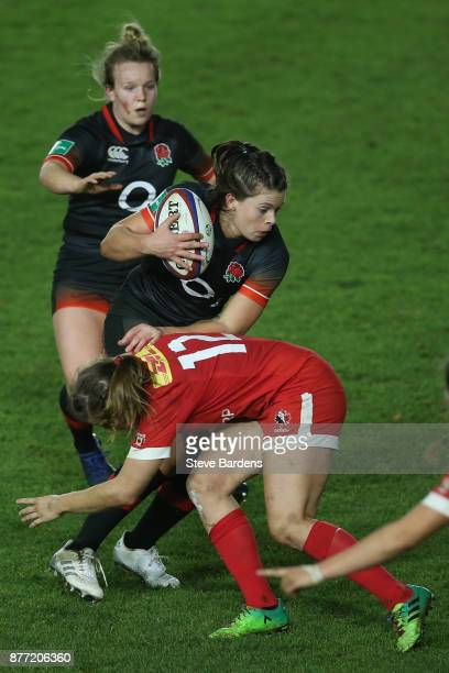 Abbie Scott of England Women takes on the Canada women defence during the Old Mutual Wealth Series match between England Women and Canada Women at...