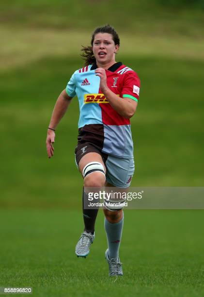 Abbie Scott of Harlequins during the Tyrrells Premier 15s match between Harlequins Ladies and DMP Sharks at Surrey Sports Park on October 7 2017 in...