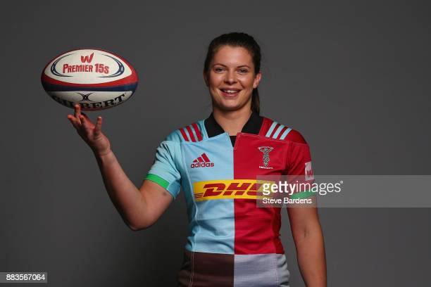 Abbie Scott poses for a portrait during the Harlequins Ladies Squad Photo call for the 2017/18 Tyrrells Premier 15s Season at Surrey Sports Park on...