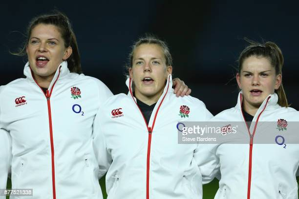 Abbie Scott Vickii Cornborough and Leanne Riley of England Women sing the national anthem prior to the Old Mutual Wealth Series match between England...