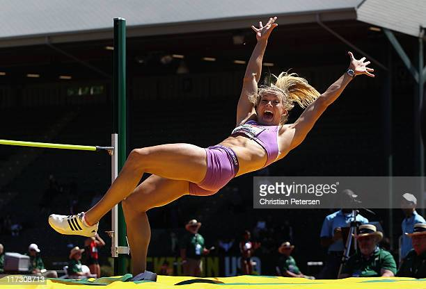 Abbie Stechschulte celebrates after clearing a personal best in the Women's high jump portion of the heptathlon on day three of the USA Outdoor Track...
