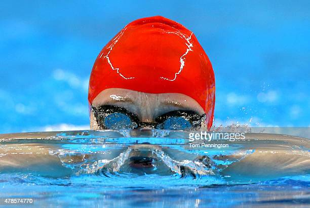 Abbie Wood of Great Britain competes in the Women's 200m Individual Medley heats during day fourteen of the Baku 2015 European Games at Baku Aquatics...