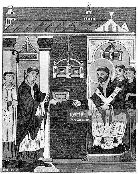 Abbot Elfnoth 10201050 A 19thcentury depiction after an 11thcentury manuscript showing Abbot Elfnoth presenting his book of prayer to St Augustine...