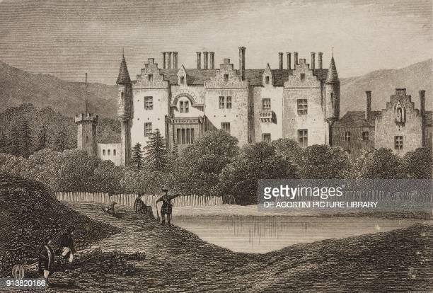Abbotsford House mansion of Sir Walter Scott Scotland United Kingdom engraving by Schroeder from Angleterre Ecosse et Irlande Volume IV by Leon...