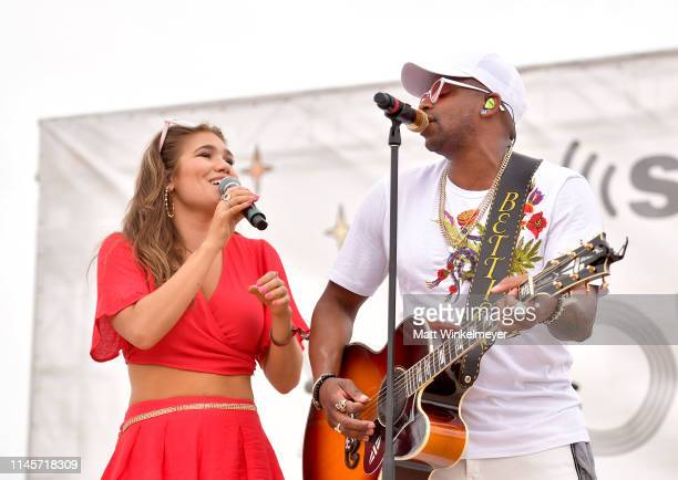 Abby Anderson and Jimmie Allen perform onstage during the 2019 Stagecoach Festival at Empire Polo Field on April 28 2019 in Indio California
