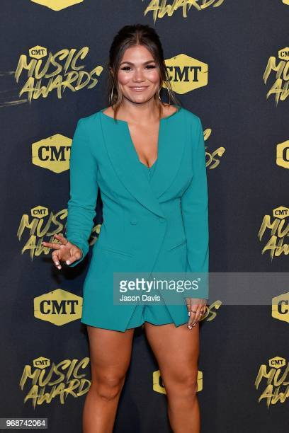 Abby Anderson arrives at the 2018 CMT Music Awards at Bridgestone Arena on June 6 2018 in Nashville Tennessee