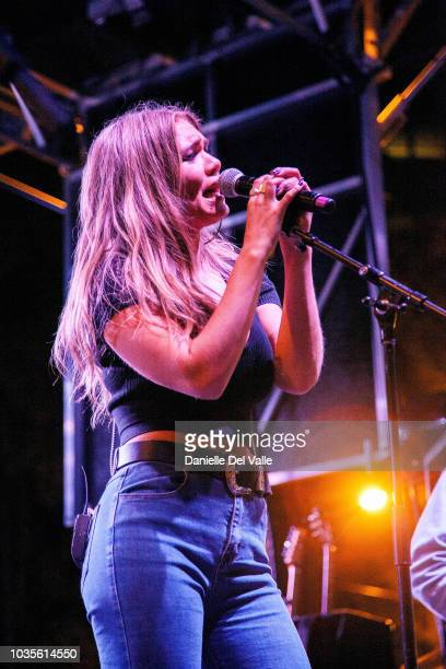Abby Anderson performs onstage during Whiskey Jam series '18 outdoor concert at Losers Bar Grill on September 17 2018 in Nashville Tennessee