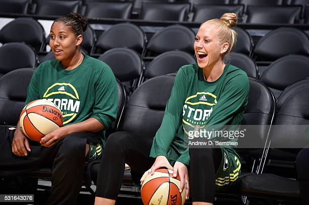 Abby Bishop and Kaleena MosquedaLewis of the Seattle Storm looks on before the game against the Los Angeles Sparks on May 15 2016 at Staples Center...