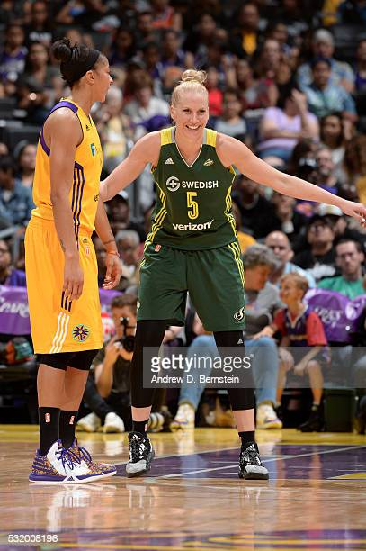 Abby Bishop of Seattle Storm plays defense against Candace Parker of Los Angeles Sparks during the game on May 15 2016 at Staples Center in Los...