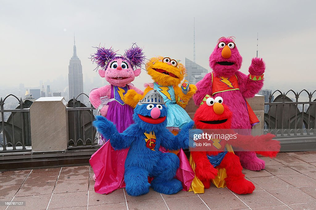 Abby Cadabby, Super Grover, Zoe, Elmo and Telly visit the Top of the Rock Observation Deck at Rockefeller Center on February 5, 2013 in New York City.