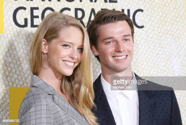 Abby Champion and Patrick Schwarzenegger arrive at the Los Angeles premiere of National Geographic's The Long Road Home held at Royce Hall on October...