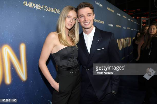 Abby Champion and Patrick Schwarzenegger attend Global Road Entertainment's world premiere of Midnight Sun at ArcLight Hollywood on March 15 2018 in...
