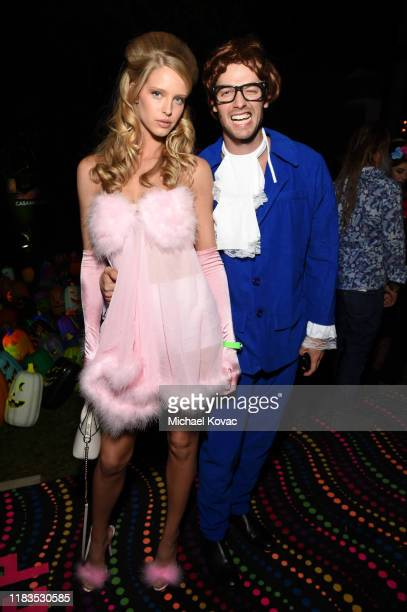 Abby Champion and Patrick Schwarzenegger attend the 2019 Casamigos Halloween Party on October 25 2019 at a private residence in Beverly Hills...