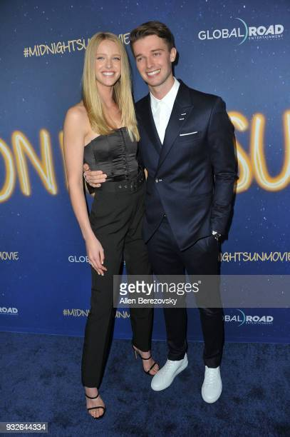 Abby Champion and Patrick Schwarzenegger attend the Global Road Entertainment's World Premiere of 'Midnight Sun' at ArcLight Hollywood on March 15...