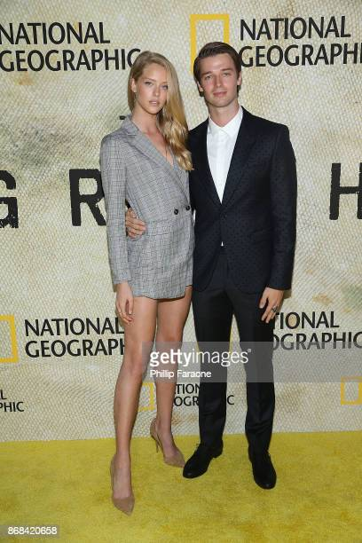 Abby Champion and Patrick Schwarzenegger attend the premiere of National Geographic's The Long Road Home at Royce Hall on October 30 2017 in Los...