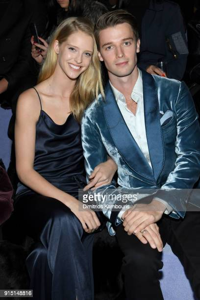Abby Champion and Patrick Schwarzenegger attend the Tom Ford Fall/Winter 2018 Men's Runway Show at the Park Avenue Armory on February 6 2018 in New...