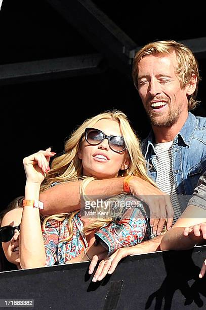 Abby Clancy and Peter Crouch celebrate their anniversary watching Miles Kane performing at Hard Rock Calling Day 1 at the Queen Elizabeth Olympic...