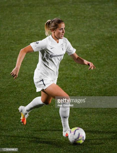 Abby Dahlkemper of North Carolina Courage in action during a game against the Sky Blue FC on day 8 of the NWSL Challenge Cup at Zions Bank Stadium on...