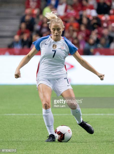 Abby Dahlkemper of the United States passes the ball during an International Friendly soccer match against Canada at BC Place on November 9 2017 in...