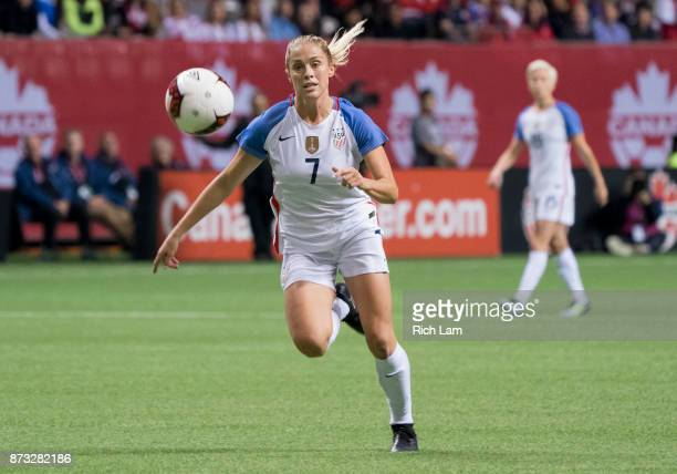 Abby Dahlkemper of the United States runs after a loose ball during an International Friendly soccer match against Canada at BC Place on November 9...
