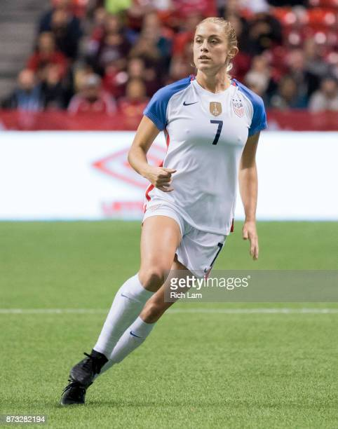 Abby Dahlkemper of the United States runs during an International Friendly soccer match against Canada at BC Place on November 9 2017 in Vancouver...
