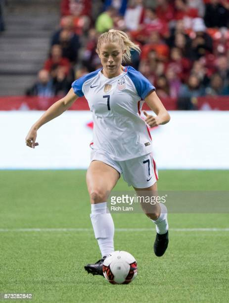 Abby Dahlkemper of the United States runs with the ball during an International Friendly soccer match against Canada at BC Place on November 9 2017...