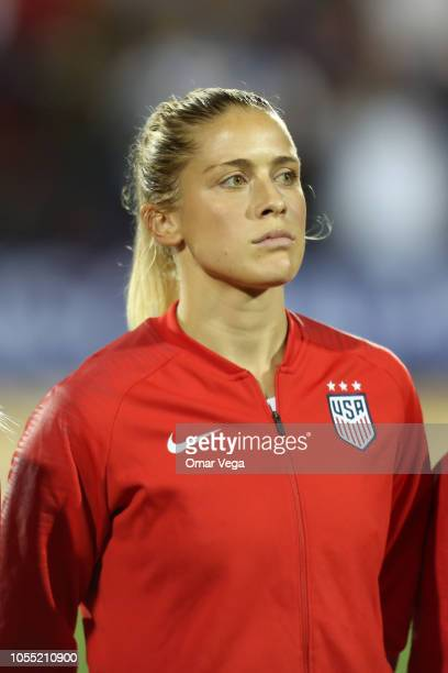 Abby Dahlkemper of the United States stands during the National Anthem before the semifinals match between Jamaica and United States as part of...
