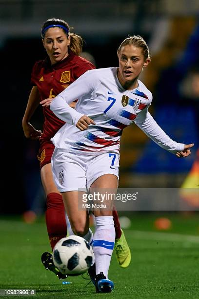 Abby Dahlkemper of The United States Women competes for the ball with Vicky Losada of Spain Women during the International Friendly game between...
