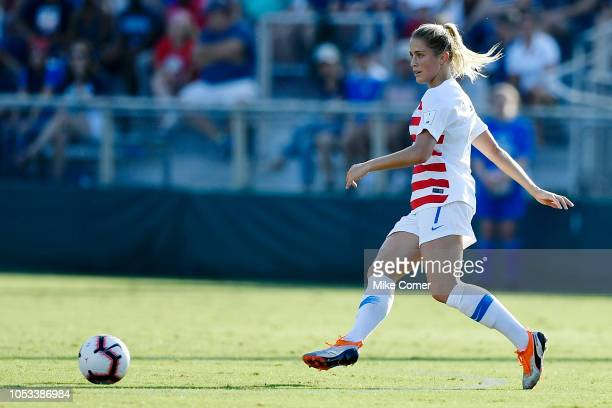 Abby Dahlkemper of the USA makes a pass in the open field against Panama during the soccer game at WakeMed Soccer Park on October 7 2018 in Cary...