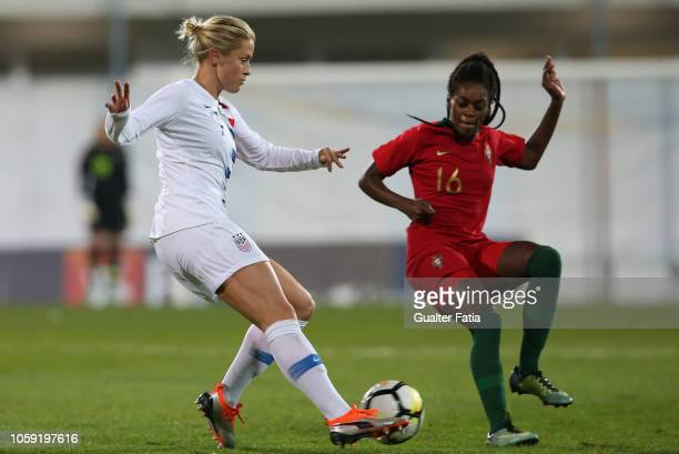 Abby Dahlkemper of United States and Diana Silva of Portugal in action during the International Friendly match between Portugal and United States of...
