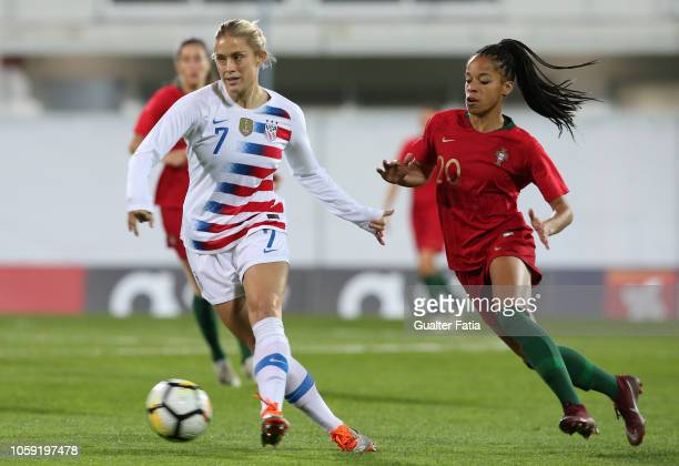 Abby Dahlkemper of United States and Jessica Silva of Portugal in action during the International Friendly match between Portugal and United States...