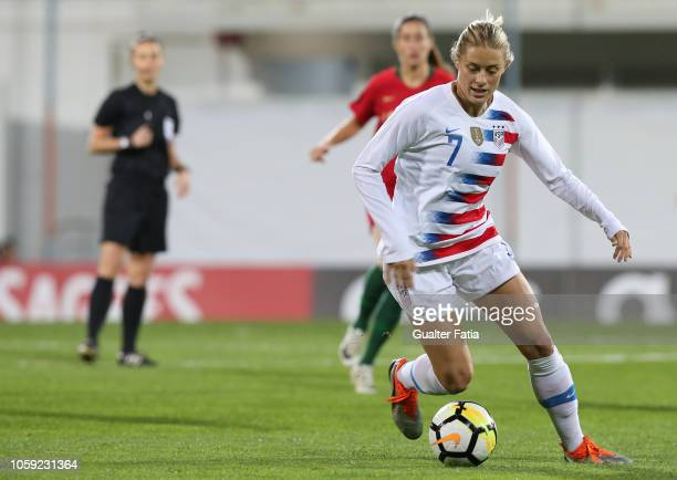 Abby Dahlkemper of United States of America in action during the International Friendly match between Portugal and United States of America at...
